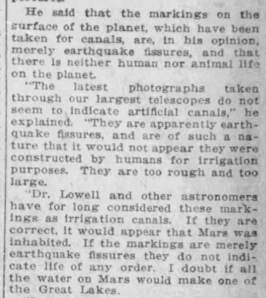 "Professor argues Mars ""canals"" are actually earthquake fissures and do not indicate life, 1911 -"