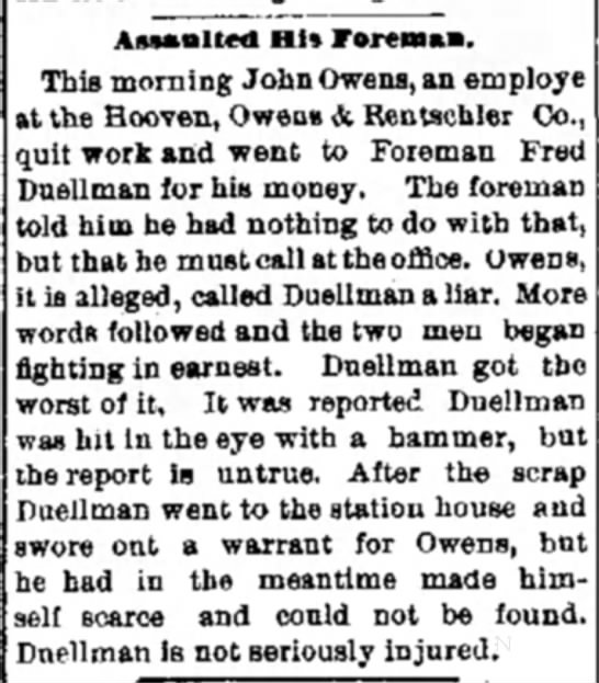 Assulted His Forman - AnaBlted Hi* Foreman. This morning John Owens,...