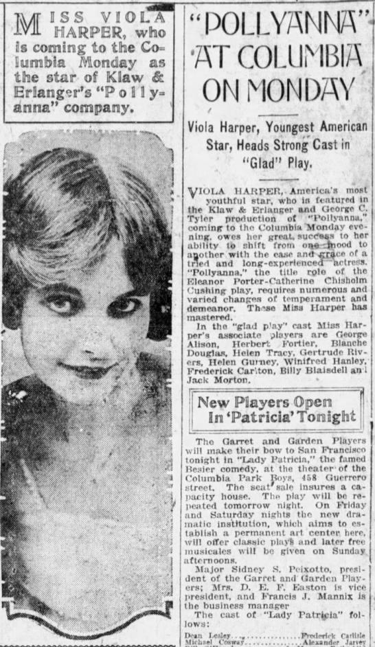 Viola Harper, Pollyanna in San Francisco 1919 -