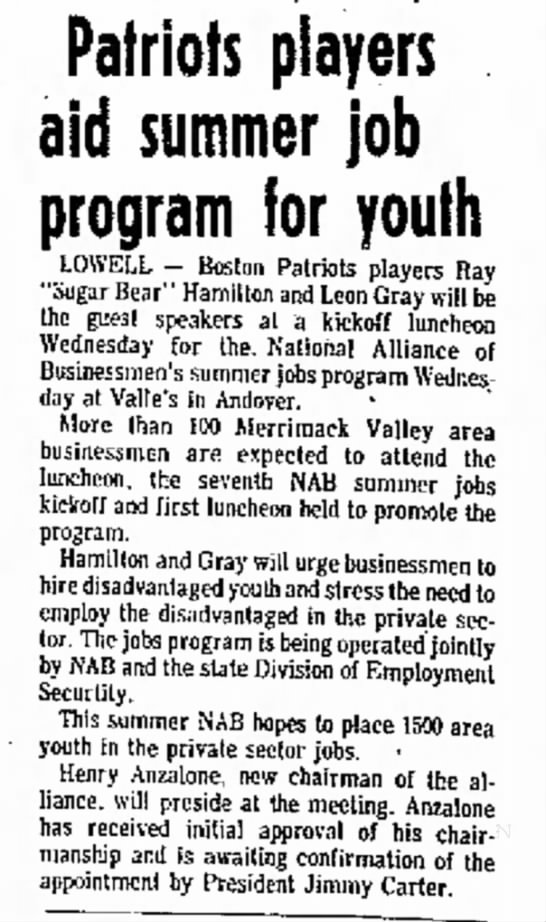 Henry Anzalone: Lowell Sun May 01, 1977 - Patriots players aid summer job program for...