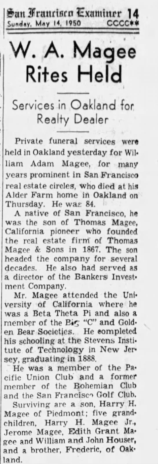 W.A. Magee Rites Held - May 14, 1950 -