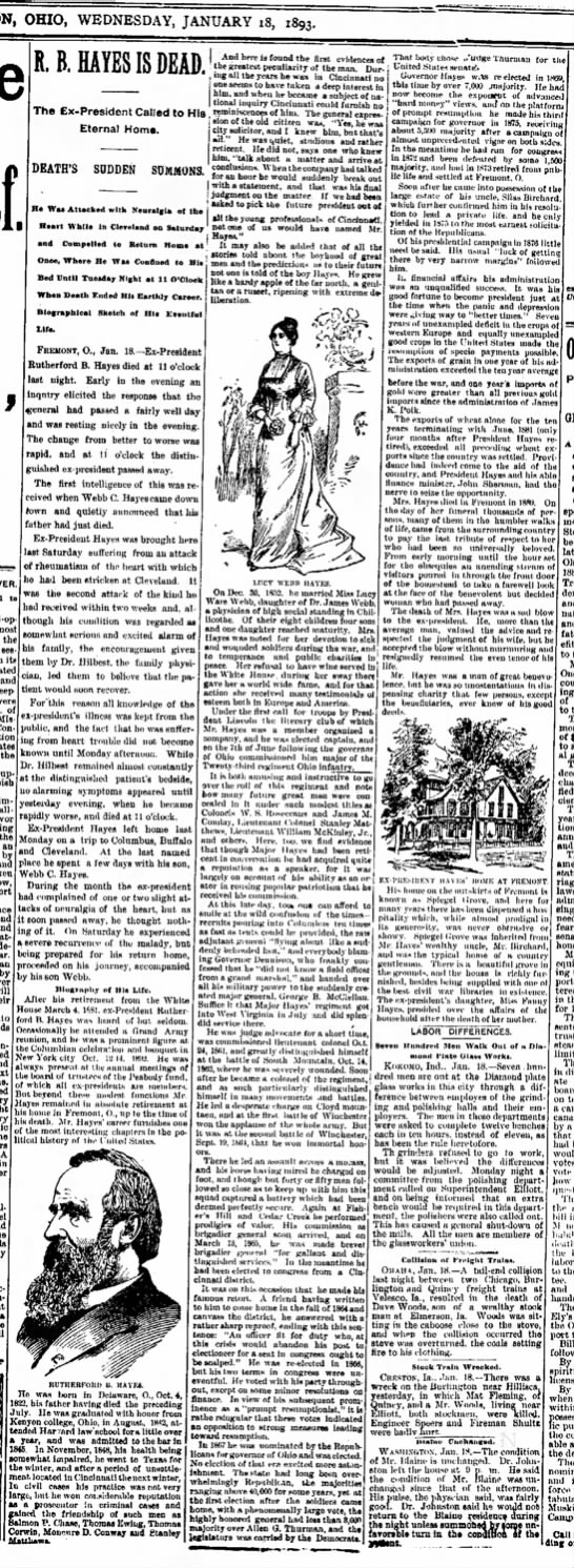 Rutherford B. Hayes-Journal News, Hamilton, Ohio-p.1-18 Jan 1893 -