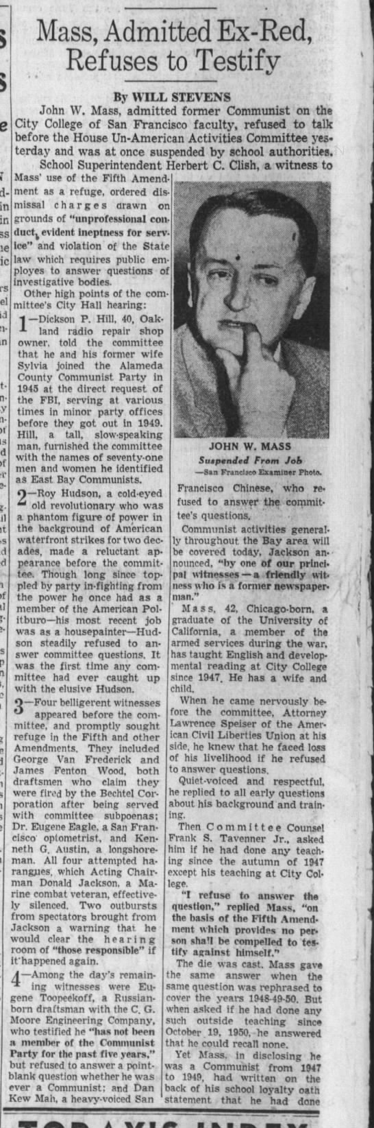 John Mass, Admitted Ex-Red, Refuses to Testify - Dec 1953 -