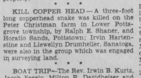 Horatio Sands kills Copperhead - please talk * * * , . KILL COPPER HEAD —A...