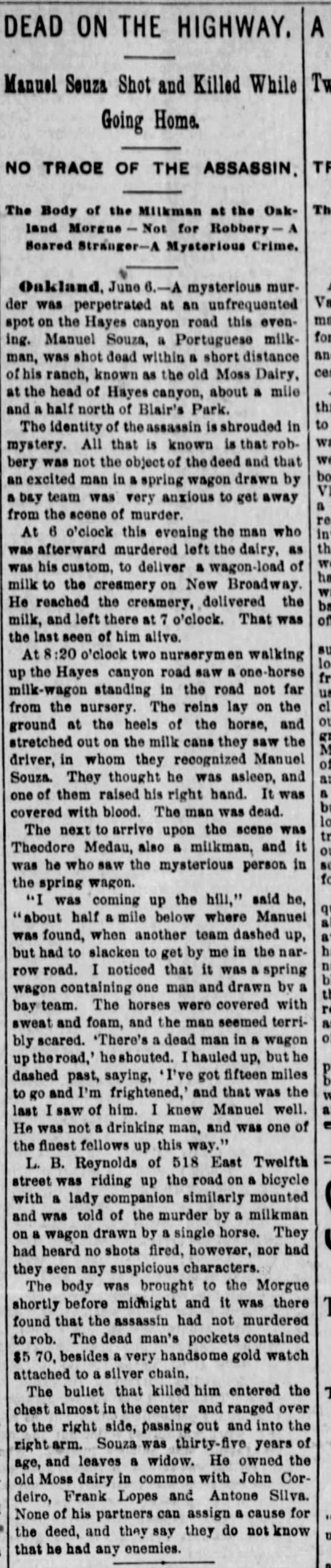 Dead on the Highway - Hayes Canyon Road - Jun 07 1894 -