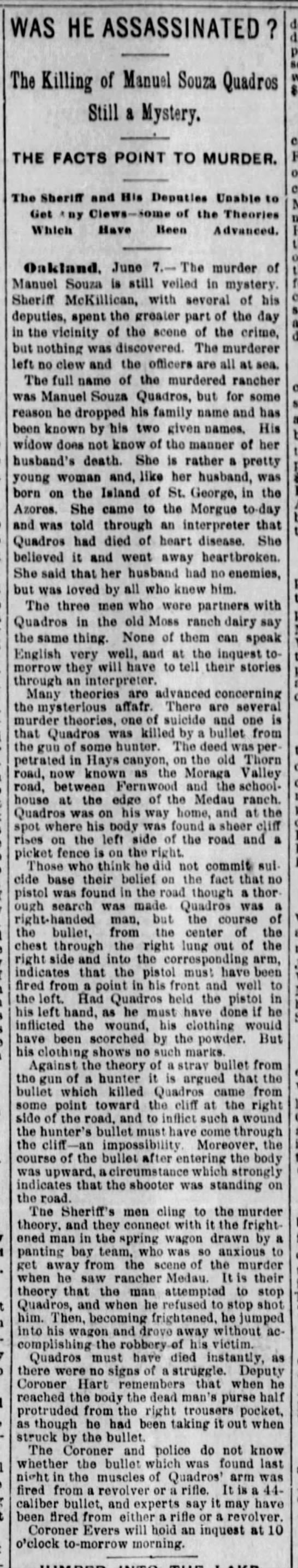 Was He Assassinated? The Killing of Manuel Souza Quadros - Still a Mystery June 08, 1894 -