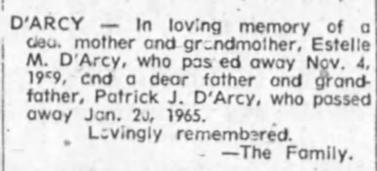 - D'ARCY In lovina memory of mother ond...