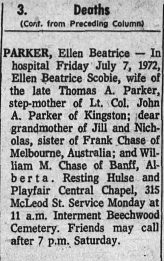 Death Notice For Ellen Beatrice Scobie -