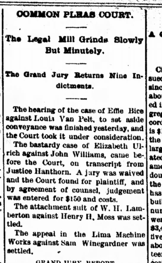 The Lima News, 16 May 1889, Page 4; Common Pleas Court. The Legal Mill Grinds Slowly But Minutely. T -