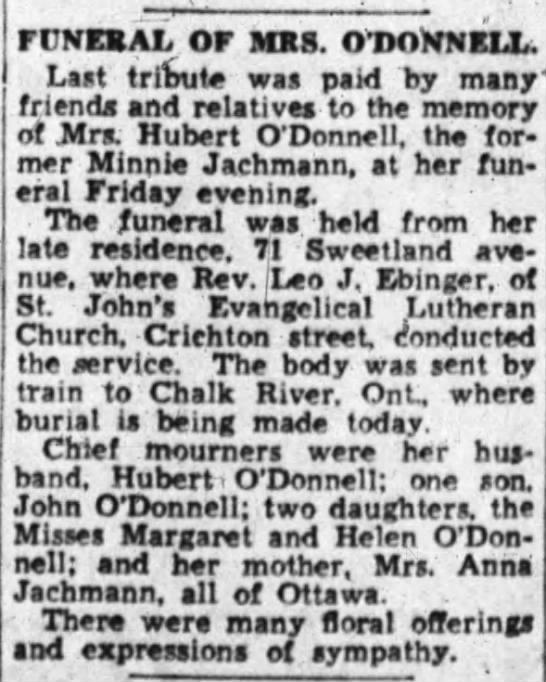 Minnie Jachmann O'Donnell obit.  Mother is Anna Jachmann -