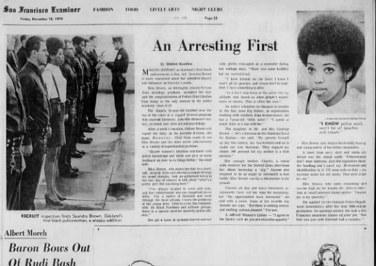 An Arresting First - Saundra Brown - Dec 18, 1970 -