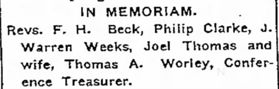 Weeks -  J Warren Rev The Piqua Daily Call (Piqua, Ohio) 2 Sept 1904 p 6 (Christian Conference) -