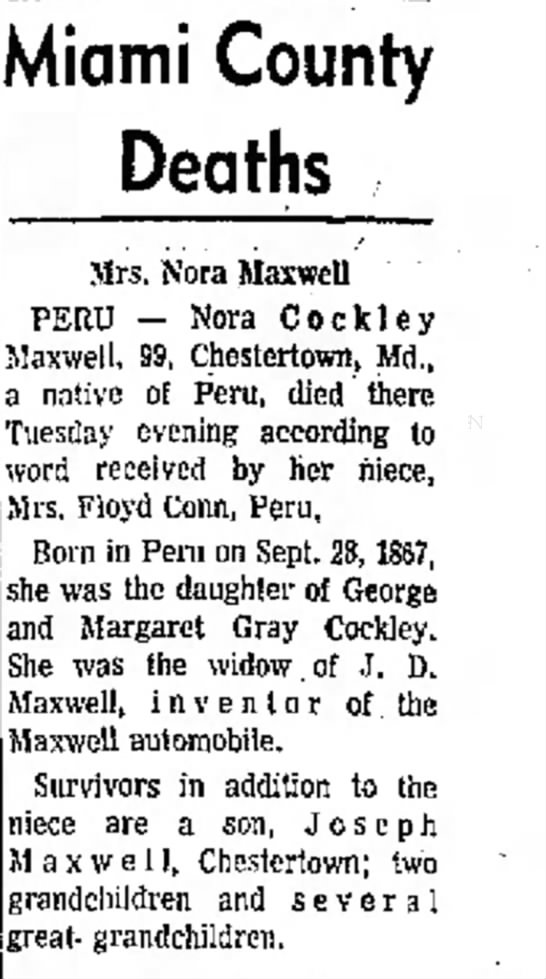 - Miami County Deaths Mrs. Nora Maxwell PERU -...