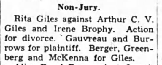 Rita Giles vs Arthur Giles and Irene Brophy, requesting divorce -