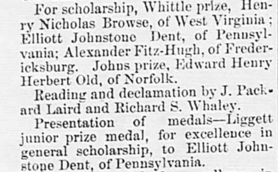 Alexandria Gazette (Alexandria, Virginia) 21 Jun 1893, page 3, col 1 -