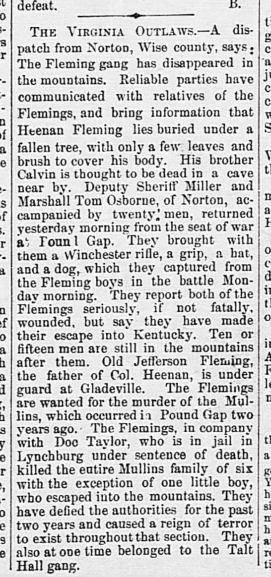 Flemings 1893 - a is defeat. The Virginia Outlaws.?A dis? patch...