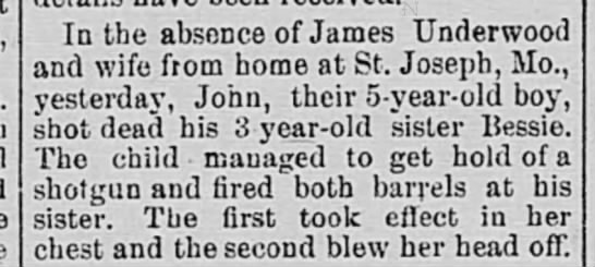 James Underwoods 5 yr old son kills 3 yr old sister  -