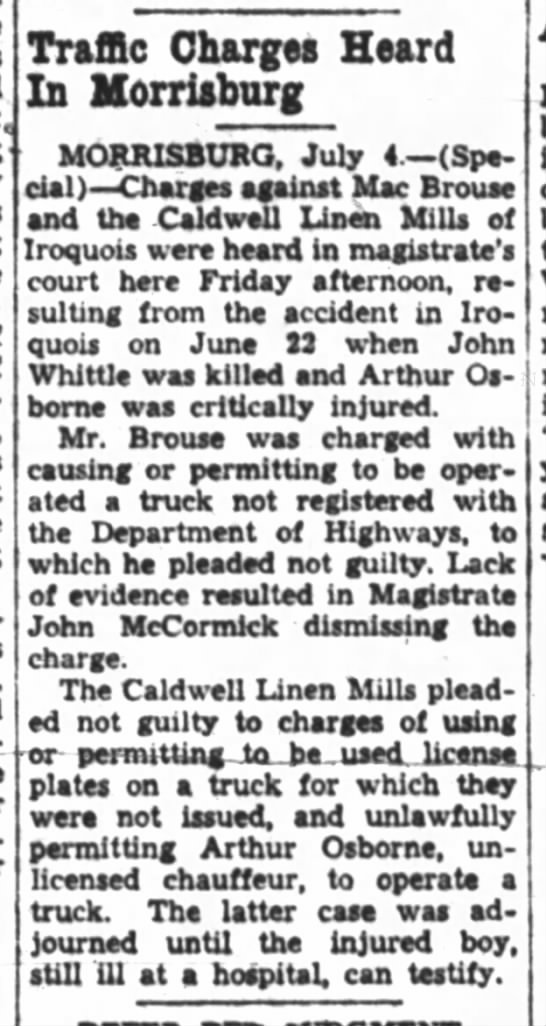 Caldwell Linen Mills Charges - John whittle Accidental Death