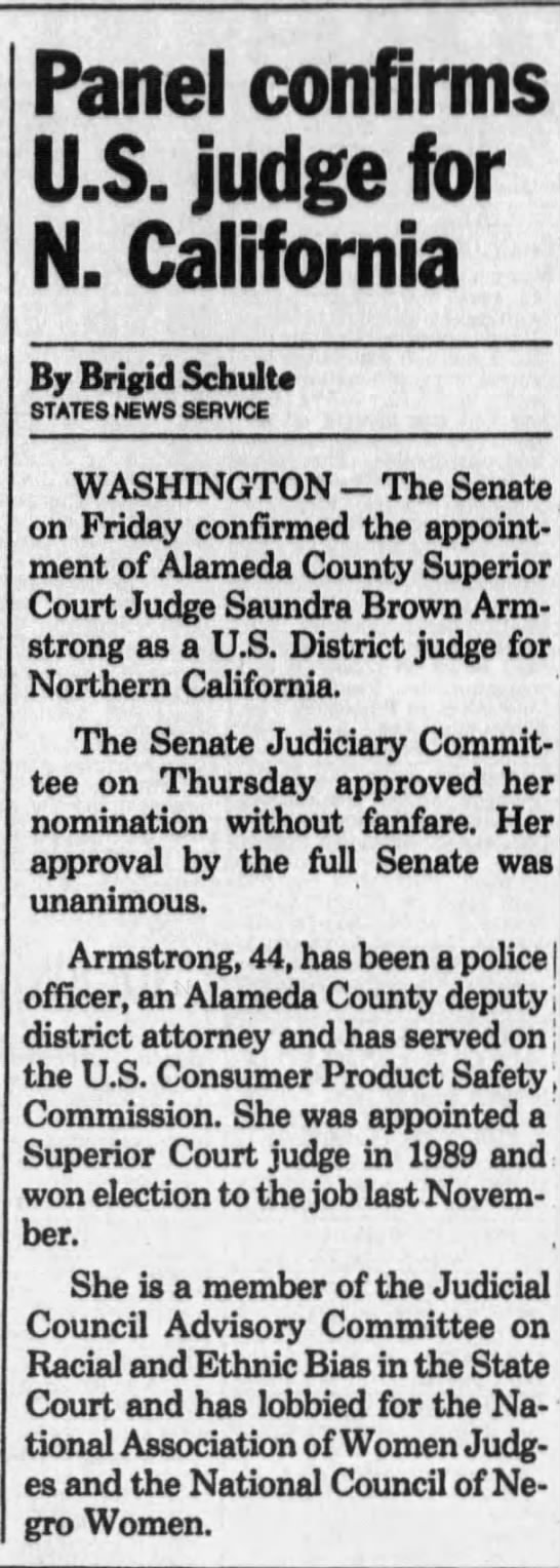 Panel confirms US judge for N California - Jun 14, 1991 -