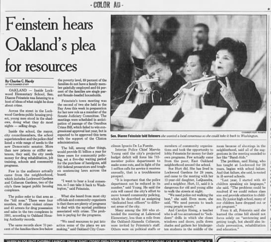 Feinstein Hears Pleas for Resources - Sf Examiner Feb 12, 199 -