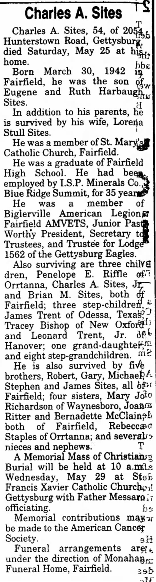 Charles A. Sites, son of Eugene and Ruth Harbaugh Sites -