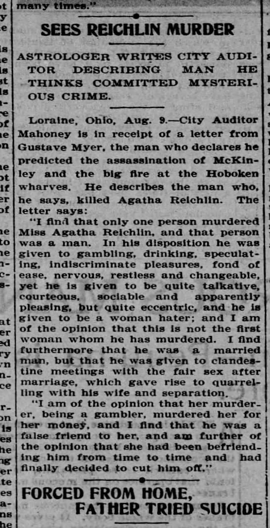 Astrology offer description of man who murdered Agatha