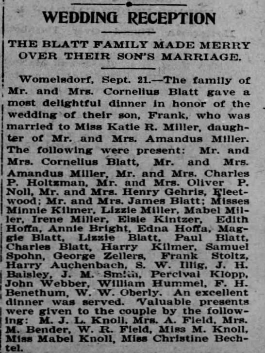 Franklin Blatt wedding 1903 -