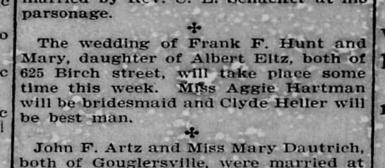 Reading Times, 7 oct 1903, page 8, col 3 - parsonage. , The wedding of Frank F. Hunt and...