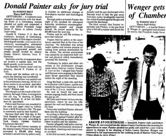 Donald Painter asks for jury trial 11/13/85 - Debra Harman -