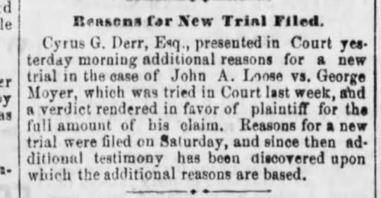 1875-05-04 - George Moyer - Reading Times - John A Loose vs -