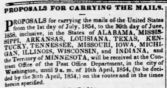 Proposals for Carrying the Mails 1854 - PROPOSALS for carrying the mails. ? ? ?...