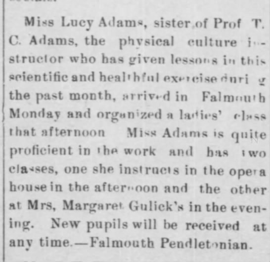 Aunt Lucy teaches in Falmouth 3 Feb 1904 -