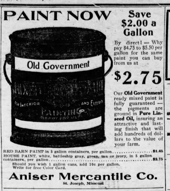 The St Joseph Observer (Saint Joseph, Missouri) 26 June 1920 - PAINT NOW Save nL Old Government JT) BED BABN...
