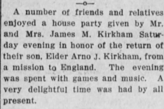 Missionary Return party by James M. Kirkham - , , I ' A number of friends and relatives...