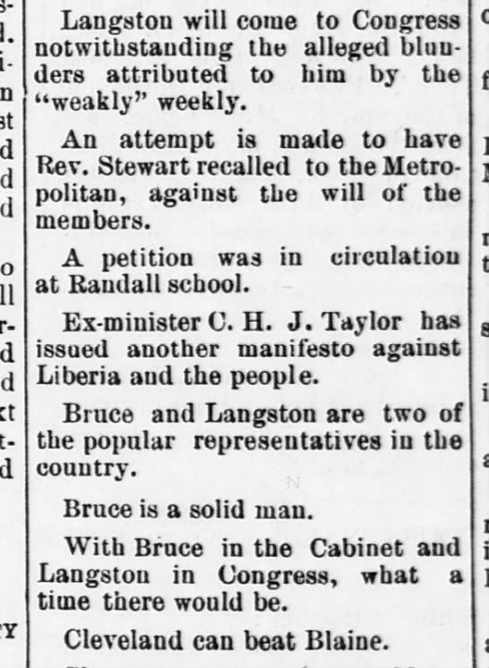 1888-05-12-WashingtonBee-p2- - Langston will come to Congress notwithstanding...