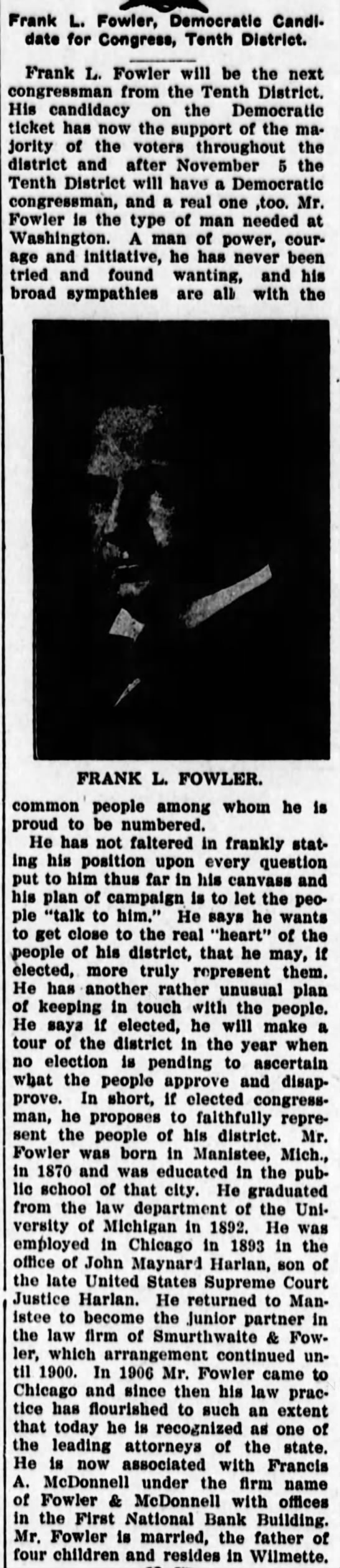 Frank Lincoln Fowler -- Congressional Candidate -