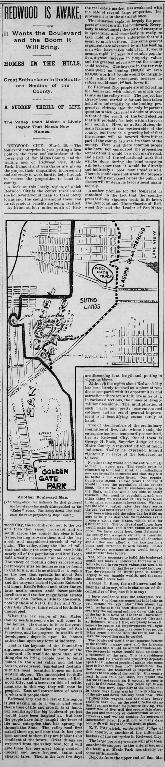 4/20/1895-Homes in the hills - REDWOOD IS AWAKE. It Wants the Boulevard and...