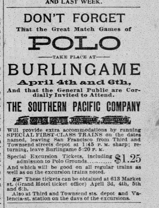 4/3/1895 - Polo game advertisement - i . AND LAST WEEK. DONT FORGET . That the Great...