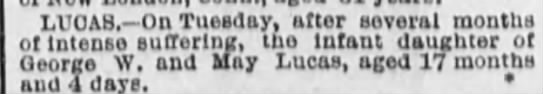 baby girl lucas died may 27 1884 born january 23 1880 -