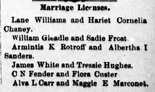 Rotroff_Armintis_9dec1897 - Marriage Licenses. Lane Williams and Hariet...