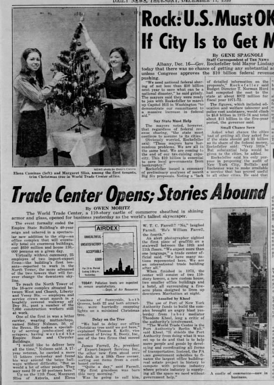 WTC opens. First tenants decorate office Christmas Tree. -