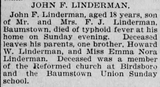 Obituary of John F. Linderman, by the Reading Times 20 Nov 1900 Page.3 -