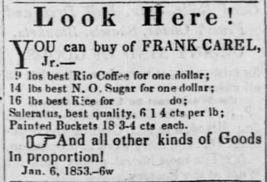 Advertisement for Frank Carel Jr., merchant Gallipolis -