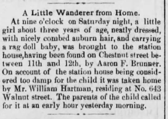 Aaron F Brunner finds little girl.  Reading Times 3 June 1876 pg1 -