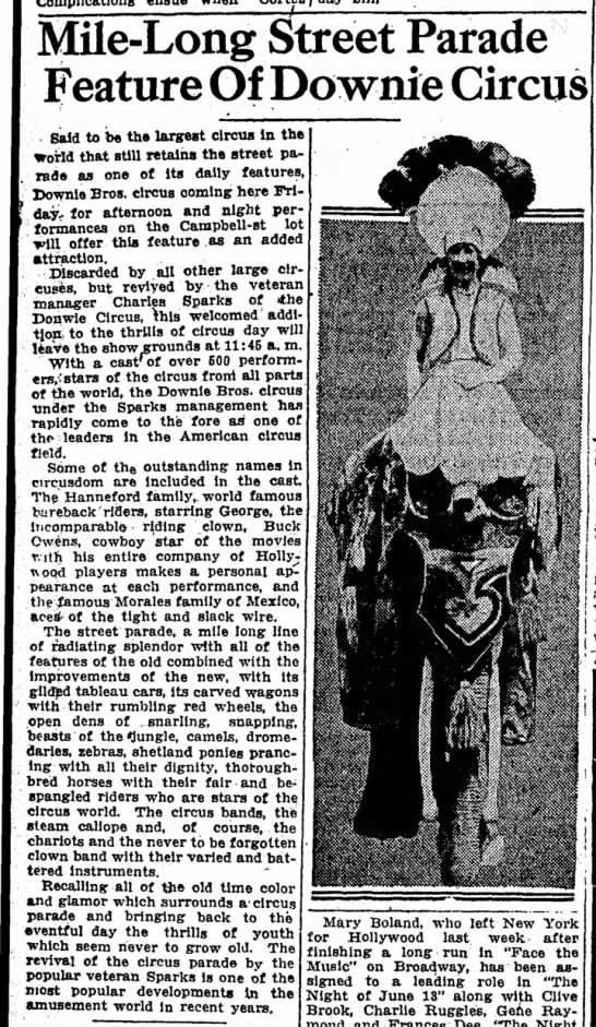 Sparks Article 8-10-1932 - Mile-Long Street Parade Feature Of Downie...