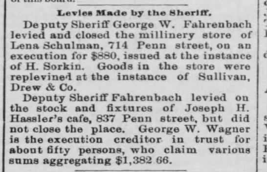 Reading Times 2 April 1895 - Ievles Made by the Sheriff. Deputy Sheriff...