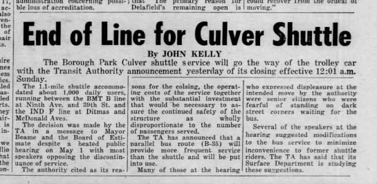 Culver Shuttle, May 9, 1975 -