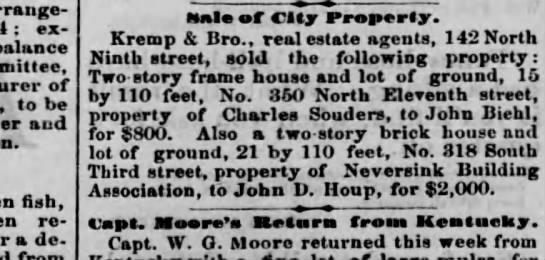 sale of house to John Biehl -