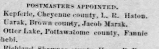 7-27-1882 EagleKepferle Post Master -