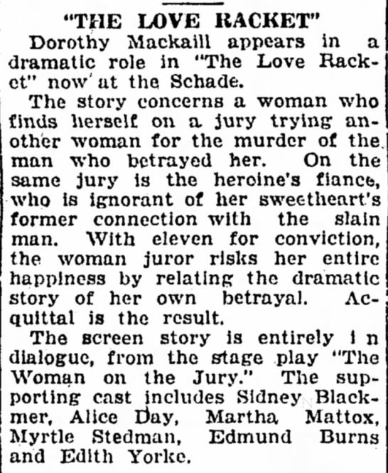Myrtle Stedman movie article The Sandusky Register OH 16 Jan 1930 -
